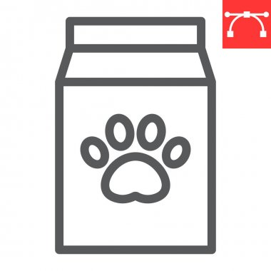 Dog food pack line icon, pet shop and animal paw print, pet food vector icon, vector graphics, editable stroke outline sign, eps 10 icon