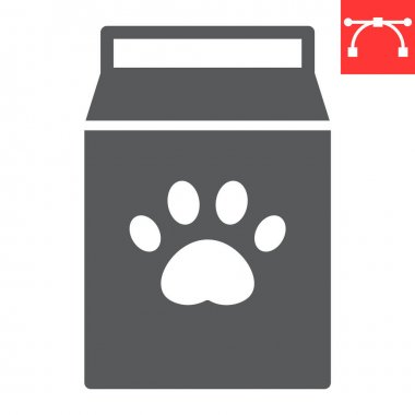 Dog food pack glyph icon, pet shop and animal paw print, pet food vector icon, vector graphics, editable stroke solid sign, eps 10 icon