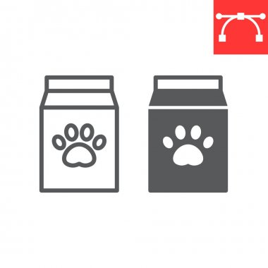 Dog food pack line and glyph icon, pet shop and animal paw print, pet food vector icon, vector graphics, editable stroke outline sign, eps 10 icon