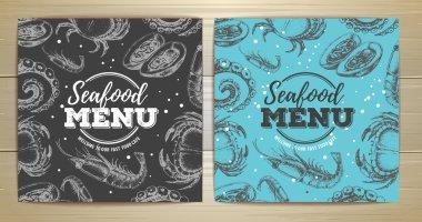 Vintage seafood menu design. Corporate identity