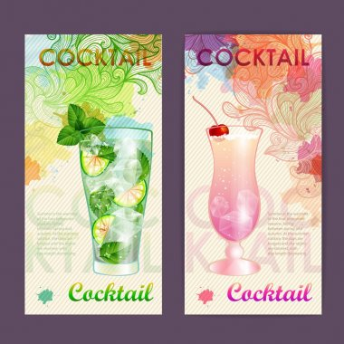 Artistic decorative watercolor cocktail poster. Disco background clip art vector