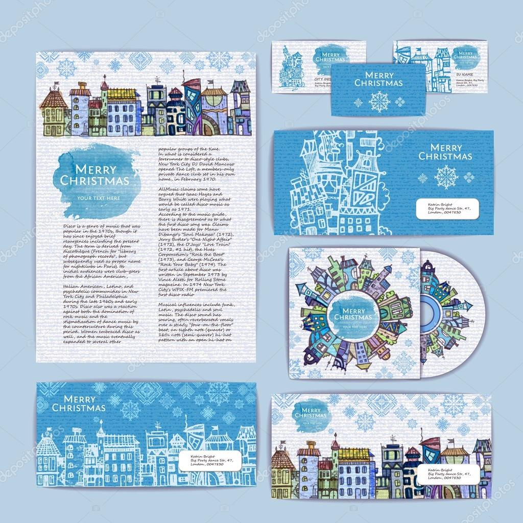 Holiday christmas city concept design. Corporate identity