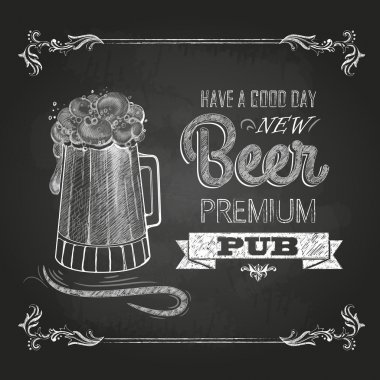 Beer in mag. Chalk drawing stock vector