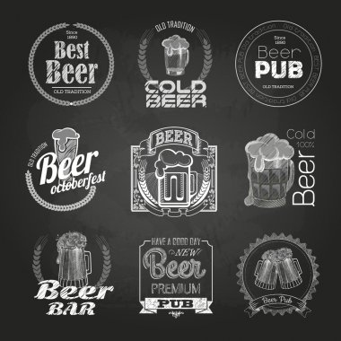 Set of chalk beer drawings. Chalk decorative labels