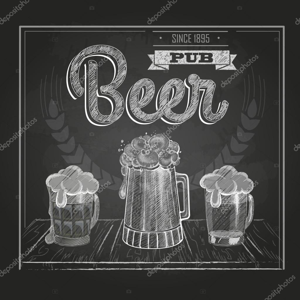 Plakat Z Piwem W Mag Kreda Rysunku Grafika Wektorowa