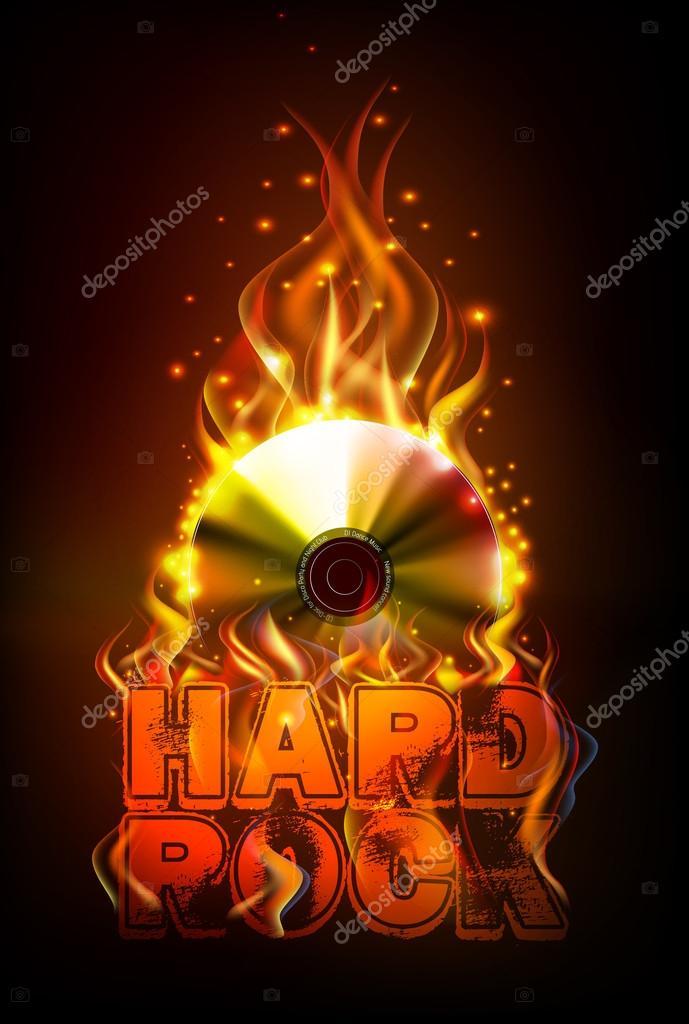 Discoteca fuego fondo de Hard rock. Quemar disco o registro de ...