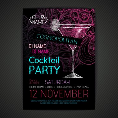 Disco cocktail party poster