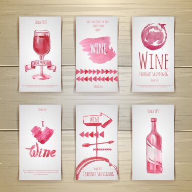 Set of art wine cards and labels design