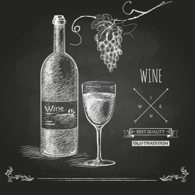 Hand drawn chalk drawing wine background