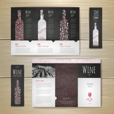 Watercolor Wine concept design. Corporate identity. Document temlate