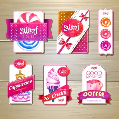Set of retro bakery labels, ribbons and cards for design on wood texture