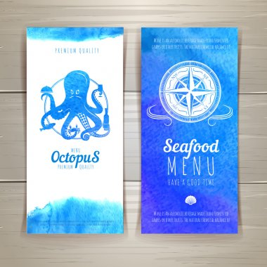 Set of blue watercolor seafood banners clip art vector