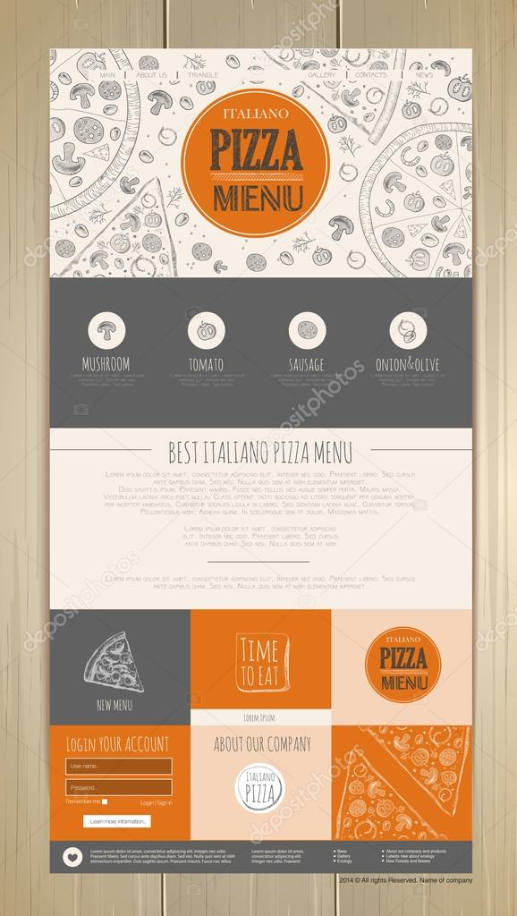 Sketch pizza concept web site design  Corporate identity