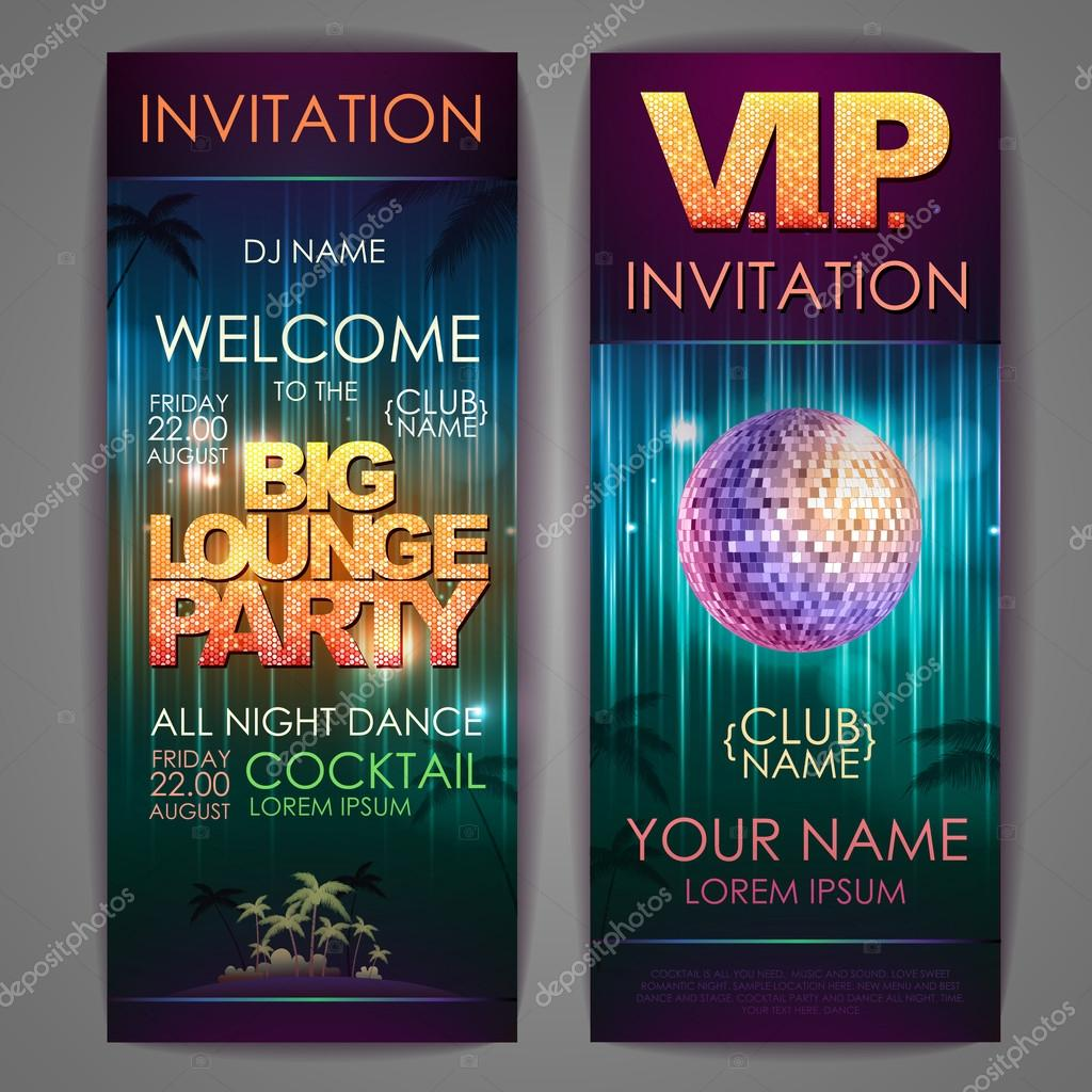 Set of disco background banners. Big lounge party poster