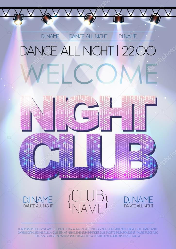 Disco background. Night club poster