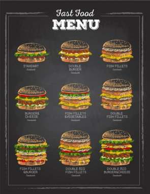 Set of Vintage chalk drawing Sandwich sketch. fast food menu.