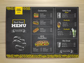 Fotografie Vintage chalk drawing fast food menu. Sandwich sketch corporate identity