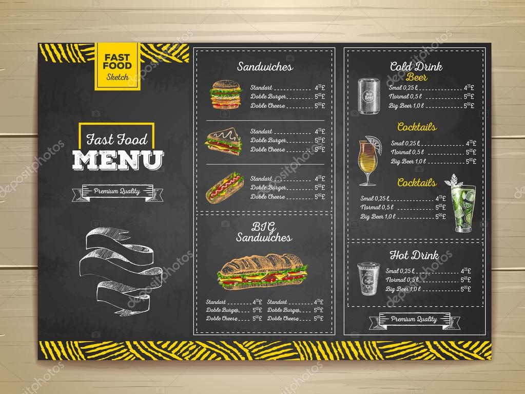 vintage chalk drawing fast food menu sandwich sketch corporate identity stock vector. Black Bedroom Furniture Sets. Home Design Ideas