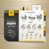 Vintage křídou výkresu nabídka rychlého občerstvení. Sandwich skica firemní identita
