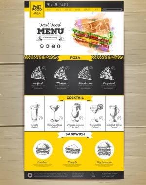 Fast food menu concept Web site design. Corporate identity.