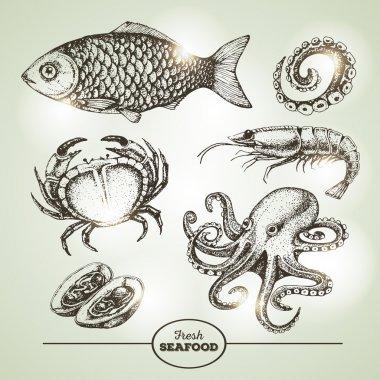Hand drawing sketch set of seafood. Vector illustration
