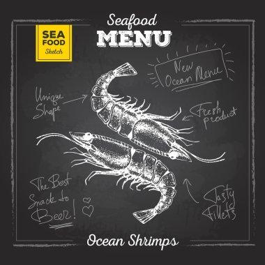 Chalk drawing sketch set of seafood. Shrimps illustration