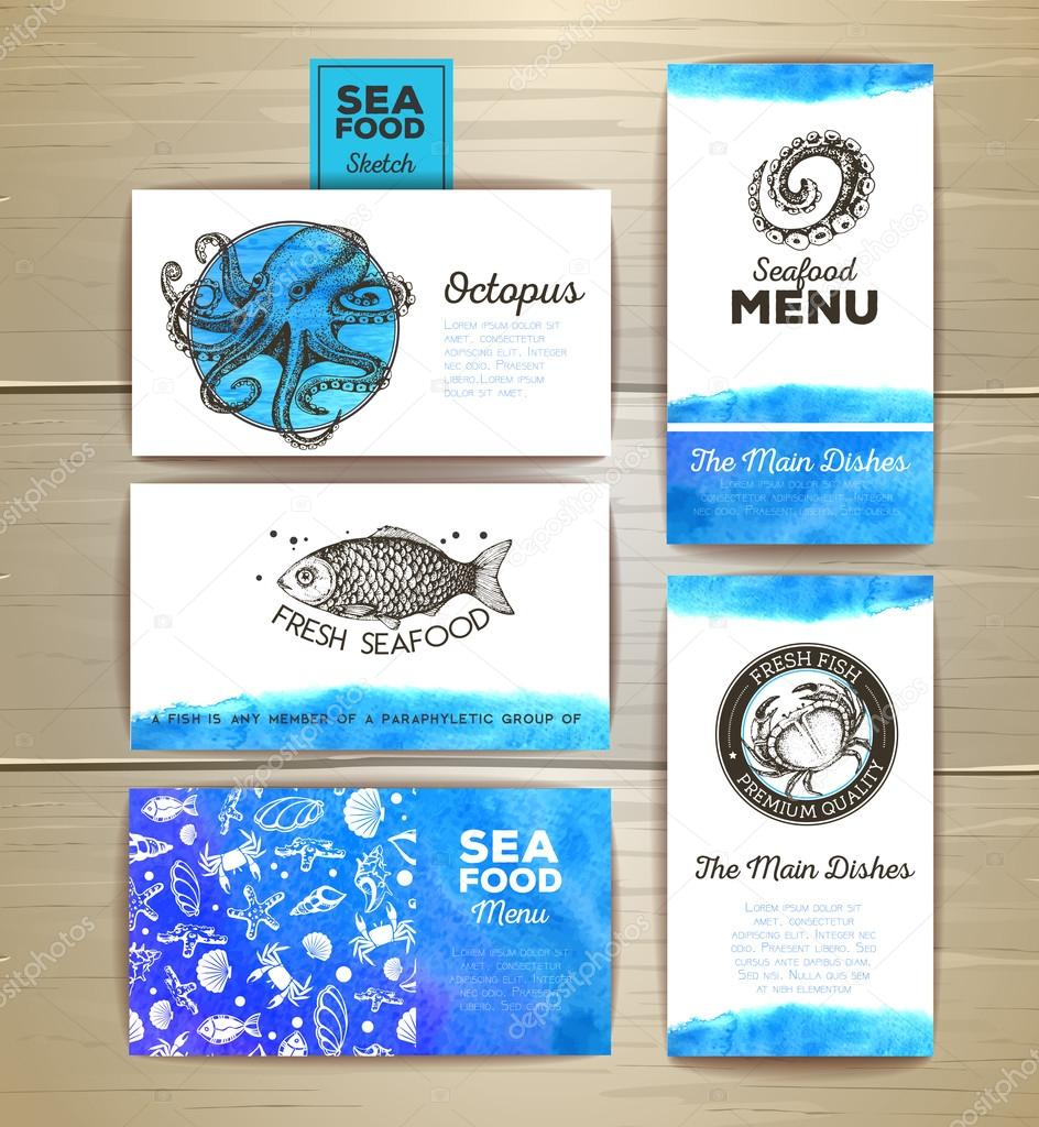 Juego de cartas de menú de mariscos. Identidad corporativa ...