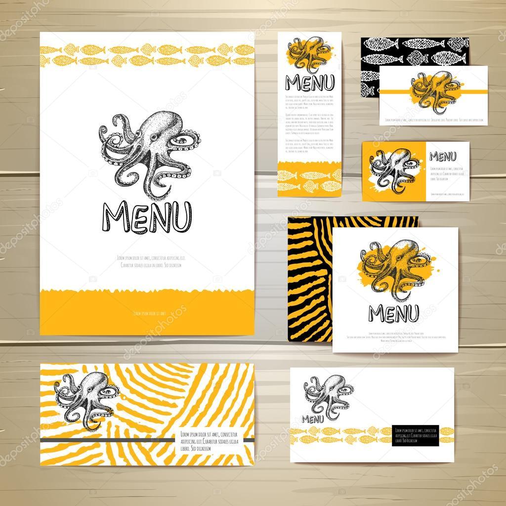 Diseño de menú de mariscos. Identidad corporativa. Plantilla de ...