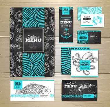 Seafood menu design. Corporate identity. Document template