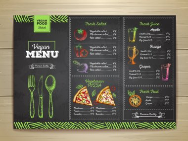 Vintage chalk drawing vegetarian food menu design. stock vector