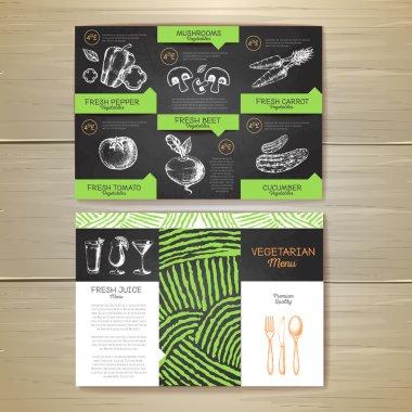 Vintage chalk drawing vegetarian food menu design. Corporate identity