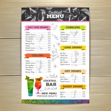 Vintage cocktail menu design. Document template