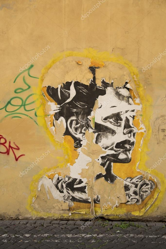 Stencil on a wall in Roma Italy