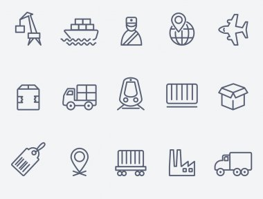 Set of 15 logistic icons