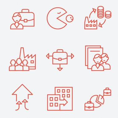 Mergers and acquisitions companies icons.