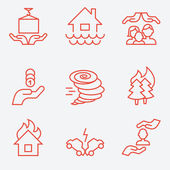 Photo Insurance icons, thin line style, flat design