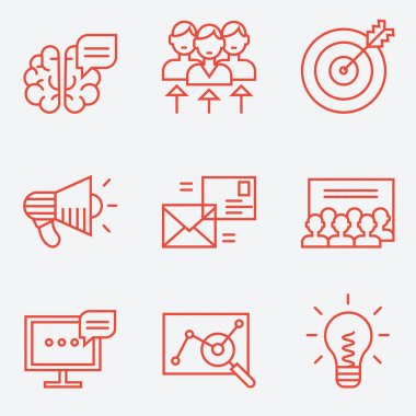 Marketing icons, thin line style, flat design