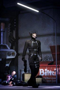 futuristic mutant dog killer