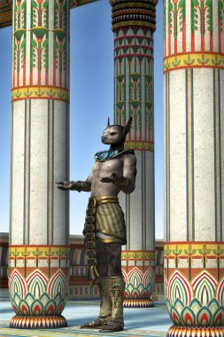 Egyptian good Anubis at the temple