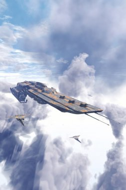 Spaceship cruiser and fighters over clouds