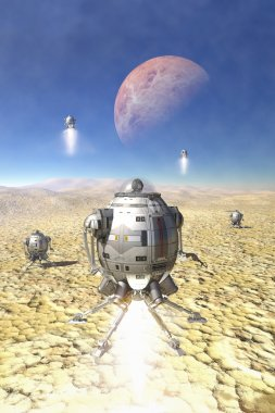 spaceship landing on a desert planet