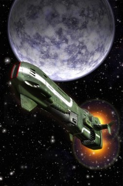 Space fighter and planet