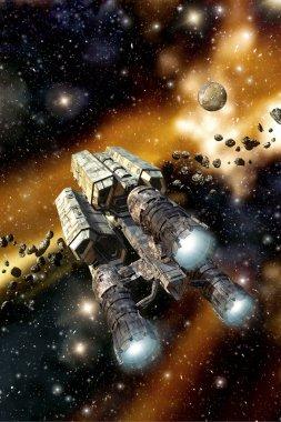 Cargo spaceship in asteroid field