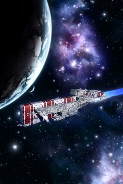 Space battleship and planet