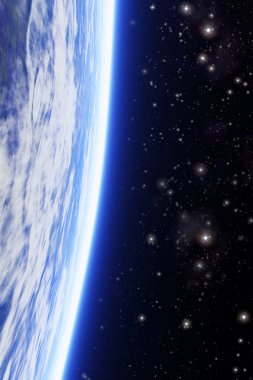 planet with starfield background