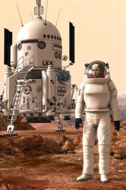 mars lander and astronaut
