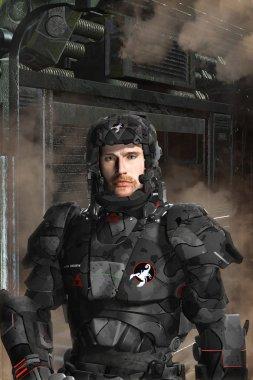 Futuristic soldier black op