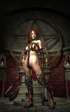 Fantasy female warrior with axe