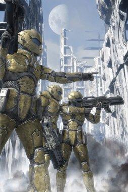 Futuristic soldier space ranger