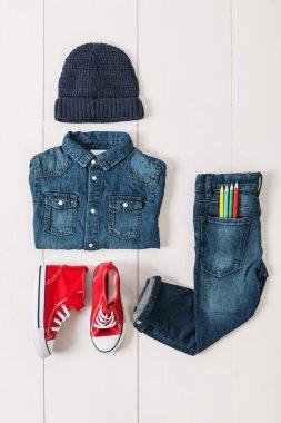 Overhead of essentials casual boy.